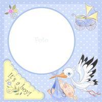 Fotolijst voor de geboorte van een jongen. Babyshower. vector