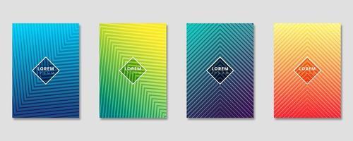 Cover ontwerpsjabloon ingesteld met abstracte lijnen