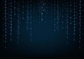 Blauwe gloeiende verbindingen in de ruimte met deeltjes