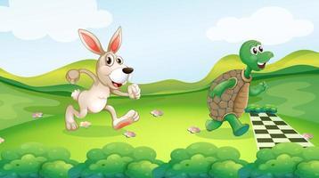 Konijn en schildpad in de race vector