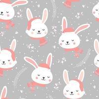Kerstmis naadloos patroon met konijntje vector