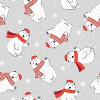 Kerstmis naadloos patroon met ijsbeer en sjaal