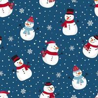 Kerst sneeuw naadloze patroon met sneeuwpop