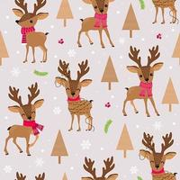 Kerst rendieren met sjaal naadloos patroon vector