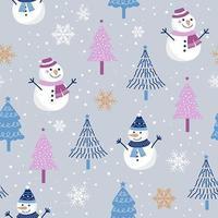 Kerstmis naadloos patroon met sneeuwman