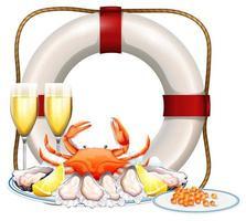 Zeevruchten op plaat en twee glazen champagne vector