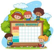 School tijdschema sjabloon met kinderen en buiten thema vector
