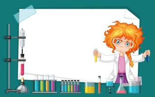Kaderontwerp met meisje die in wetenschapslaboratorium werken vector