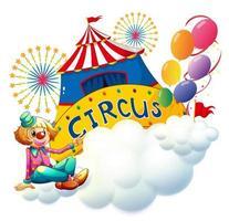 Een clown zittend op een wolk met een circus uithangbord