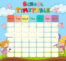 School tijdschema sjabloon met kinderen en vlinders vector