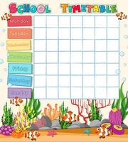 School tijdschema sjabloon met onderwater thema