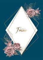 Geometrisch frame met waterverfbloemen.