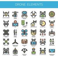 Drone-elementen Dunne lijnkleurpictogrammen vector