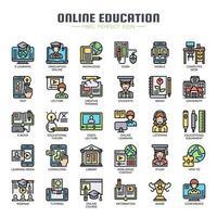 Online onderwijs dunne lijn pictogrammen vector