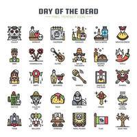 Dag van de dode dunne lijn pictogrammen