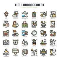 Tijdmanagement Dunne lijnpictogrammen