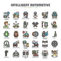 Intelligente automotive dunne lijn pictogrammen vector