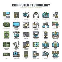 Dunne lijn pictogrammen voor computertechnologie