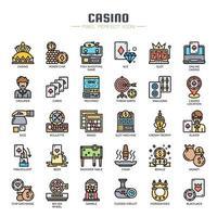 Casino-elementen Dunne lijnpictogrammen vector
