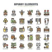 Bijenstal elementen dunne lijn pictogrammen