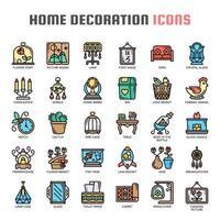 Huisdecoratie dunne lijn kleur pictogrammen