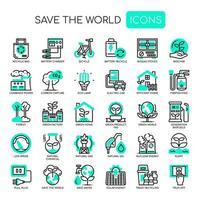 Save The World Dunne lijn zwart-wit pictogrammen