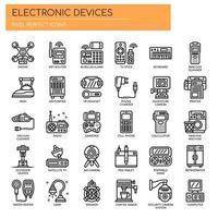 Elektronische apparaten dunne lijn pictogrammen