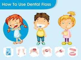 Wetenschappelijke medische illustratie van tandzorg met kinderen vector