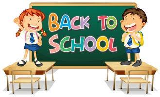 Terug naar school sjabloon met studenten voor schoolbord staande op een bureau vector