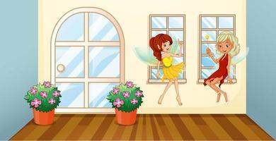 Twee feeën die bij het venster binnen zitten