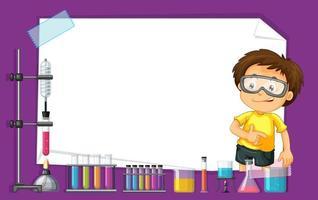 Frame sjabloonontwerp met kind in science lab vector