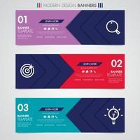 Horizontale ontwerpbanner met geometrische vormen en pictogrammen