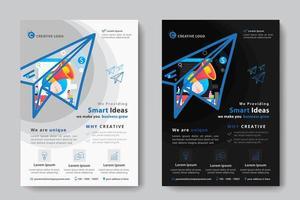 Zakelijke sjabloon met megafoon in papieren vliegtuigvorm vector