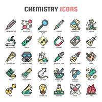 Dunne lijn kleur pictogrammen chemie vector