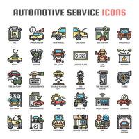 Automotive Service Dunne Lijn Pictogrammen