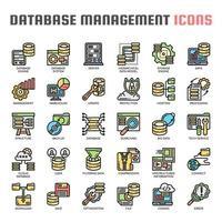Databasebeheer Dunne lijnpictogrammen
