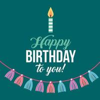 gelukkige verjaardagskaart met kaars en kwasten vector