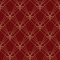 Eenvoudig elegant rood kastanjebruin patroon van het art deco naadloos patroon