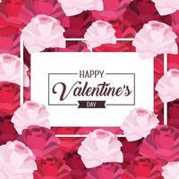 frame met bloemendecoratie tot gelukkige valentijnskaart