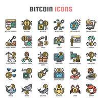 Dunne lijnpictogrammen Bitcoin vector