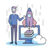 man met computer online boeken en raket-app vector
