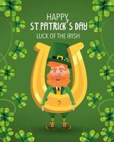 St Patrick man met gouden hoefijzer en klavers