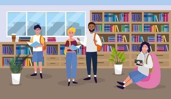 meisje en jongens in het universitair bibliotheekonderwijs