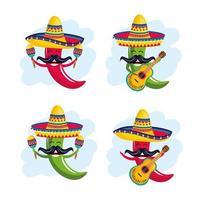 set chilipepertjes dragen hoed met maracas en gitaar vector