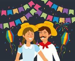 vrouw en man koppel met hoed en lantaarns