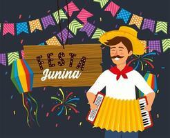 man met accordeon en lanters met feest banner