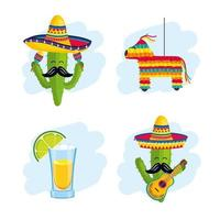 Mexicaanse traditionele decoratie instellen op gebeurtenisviering vector