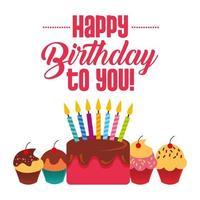 gelukkige verjaardag aan je kaart met cake met kaarsen en cupcakes vector