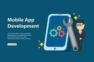 Mobiel app ontwikkelingsconcept met de holdingsmoersleutel en cellphone van de mens vector