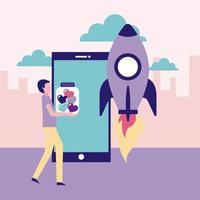 smartphone, raket en vrijwilligers man die fles met harten vector